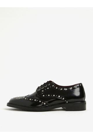 Pantofi brogue negri din piele naturala cu aspect lucios - London Brogues Brut Derby