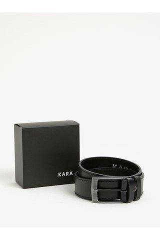 Černý pánský kožený pásek KARA