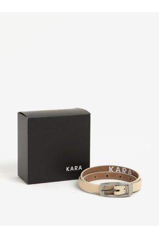 Curea ingusta bej din piele naturala pentru femei - KARA
