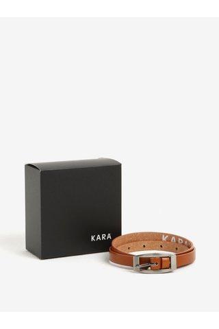 Curea ingusta maro din piele naturala pentru femei - KARA