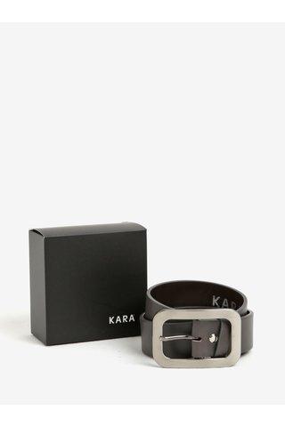 Curea gri inchis din piele naturala cu catarama argintie pentru femei - KARA