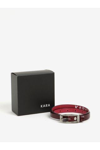 Curea ingusta bordo din piele naturala pentru femei - KARA