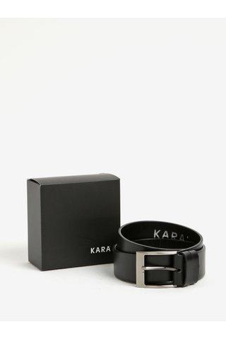 Curea neagra din piele naturala si catarama argintie pentru barbati - KARA