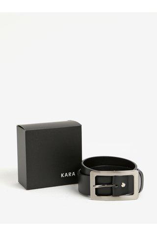 Černý dámský kožený pásek se sponou ve stříbrné barvě KARA