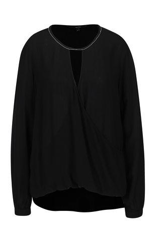 Bluza neagra translucida cu decolteu suprapus VERO MODA Misty