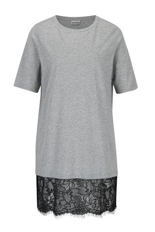 Rochie - tricou gri melanj cu terminatie din dantela neagra -  Noisy May