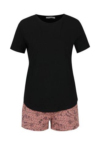 Pijama cu tricou negru si pantaloni scurti roz - Pieces Cammi