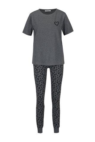 Pijama cu tricou si pantaloni lungi cu print inima - Pieces Cailin
