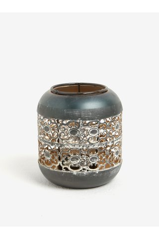 Suport de lumanare gri inchis metalic - Kaemingk