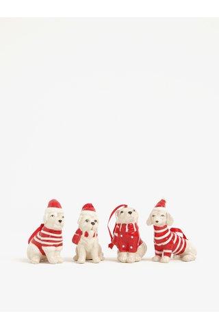 Set de 4 figurine in forma de catelusi imbracati de sarbatori - Kaemingk