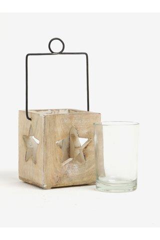 Suport din lemn si sticla cu decupaj steluta pentru lumanare - Sass & Belle Cubic