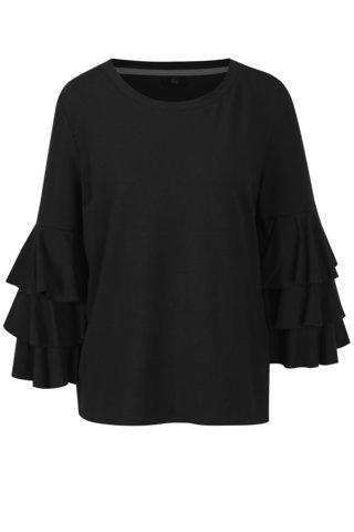 Bluza neagra subtire cu volanase pe maneci - ONLY Ancona