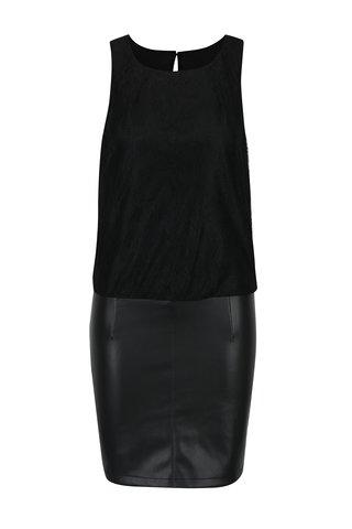 Rochie neagra cu top din dantela si fusta cu aspect de piele - ONLY Lea