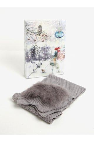 Fular tricotat gri cu buzunare din blana artificiala Something Special