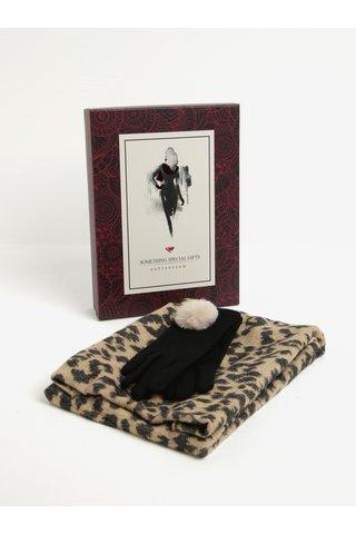 Béžovo-černý dámský set vlněných rukavic s šálou Something Special