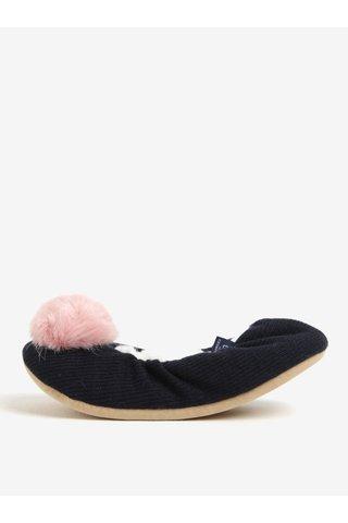 Papuci de casa bluemarin cu ciucure si blana - Tom Joule
