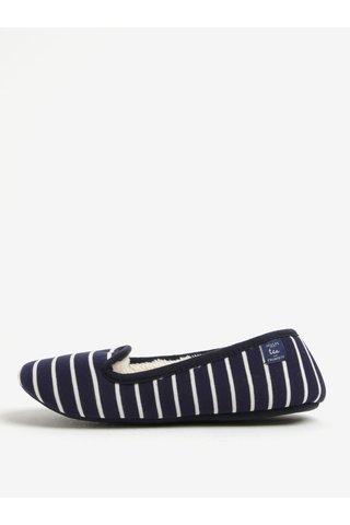 Papuci de casa bleumarin in dungi cu blana - Tom Joule Dreama