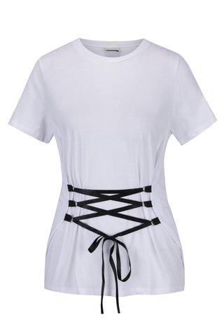 Tricou alb cu snur inserat Noisy May Philippa