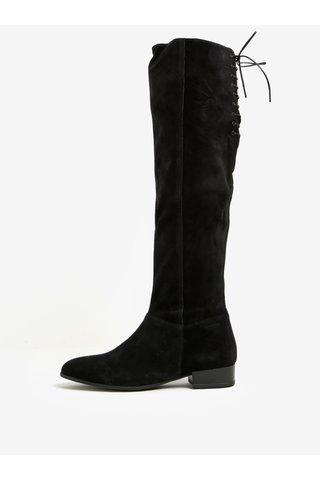 Cizme negre peste genunchi din piele intoarsa cu toc mic si fermoar -  Vagabond Gigi