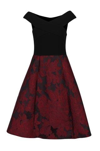 Rochie negru&bordo cu model floral si umeri expusi Ax Paris