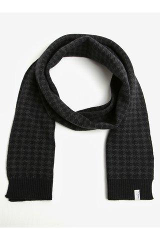 Fular din amestec de lana cu model houndstooth negru & gri inchis - Selected Homme Mason