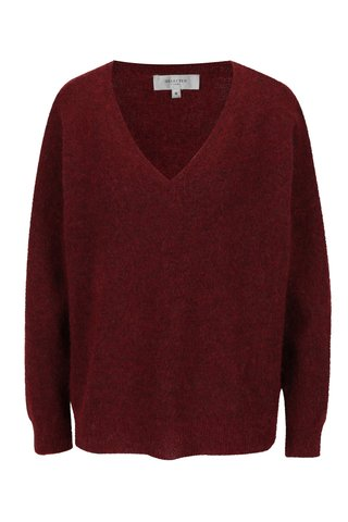 Pulover rosu cu decolteu anchior din amestec de lana si mohair Selected Femme Livana