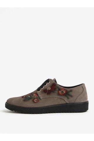 Pantofi gri cu broderie florala din piele intoarsa OJJU