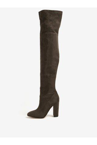 Cizme kaki peste genunchi cu aspect de piele intoarsa - ALDO Sumers