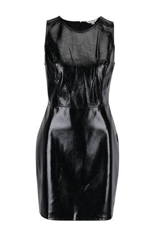 Rochie neagra tubulara lucioasa  cu aspect de piele -  Miss Selfridge
