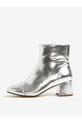 Botine argintii cu toc stabil si aspect metalic -  Miss Selfridge Delilah