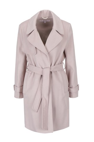 Palton roz prafuit cu revere, cordon in talie si buzunare - Miss Selfridge Petites