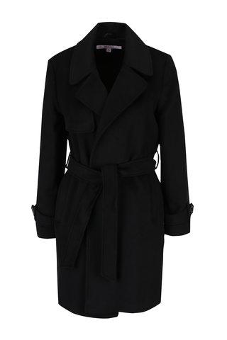 Palton negru cu revere, cordon in talie si buzunare - Miss Selfridge Petites