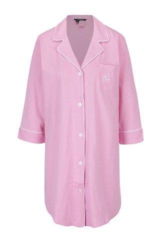Růžová puntíkovaná noční košile s límečkem Lauren Ralph Lauren Heritage