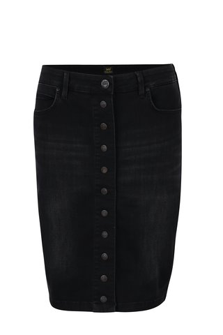 Černá džínová pouzdrová sukně s vyšisovaným efektem Lee