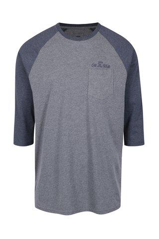 Bluza gri&albastru melanj cu print si maneci 3/4 VANS Original Lock