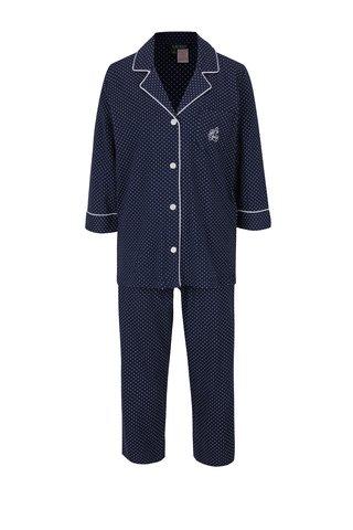 Pijama bleumarin cu revere, buline si logo brodat pentru femei -  Lauren Ralph Lauren Heritage