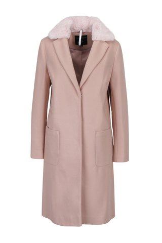 Palton roz cu guler detasabil din blana artificiala - Dorothy Perkins