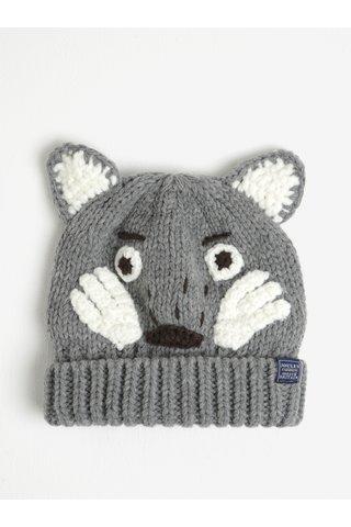Caciula tricotata gri & alb cu aspect de lup - Tom Joule