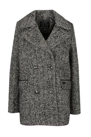 Palton cu model chevron din amestec de lana pentru femei - Superdry Classic