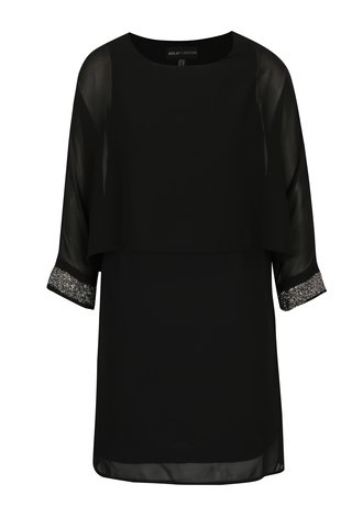 Rochie neagra cu detalii decorative la maneci Mela London