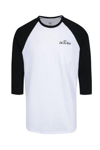 Černo-bílé pánské custom fit tričko s potiskem na zádech VANS Original Lock