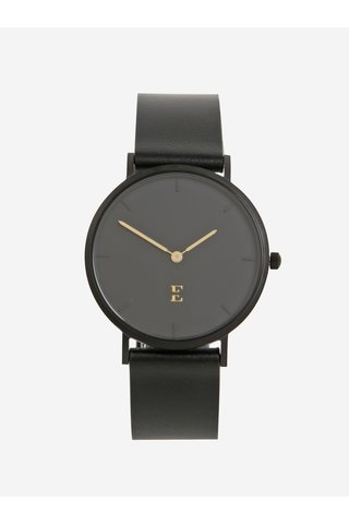 Černé dámské hodinky s koženým páskem Esoria Alys