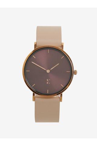 Dámské hodinky v růžovozlaté barvě s koženým páskem Esoria Alys