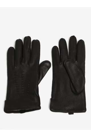 Černé pánské kožené rukavice s vlněnou podšívkou KARA