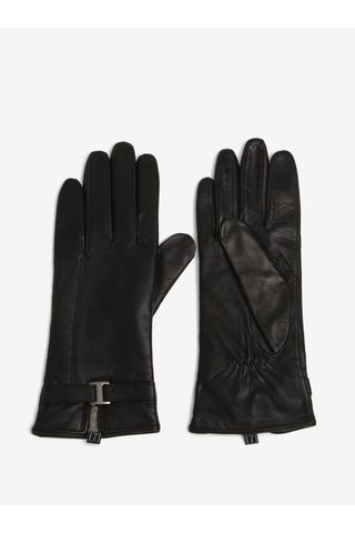 Černé dámské kožené rukavice s ozdobným páskem KARA