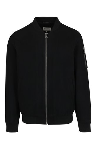 Jacheta bomber neagra din amestec de lana - Shine Original