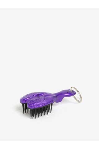 Perie violet mica de par tip breloc cu model aripi de inger - Tangle Angel Baby