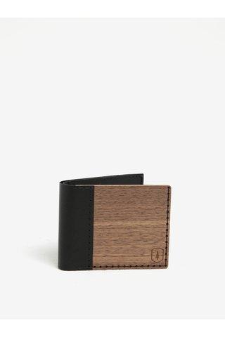 Portofel maro din lemn si piele - BeWooden Nox Virilia