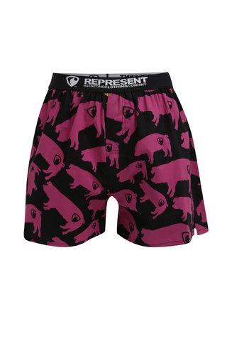 Růžovo-černé trenýrky s potiskem Represent Exclusive Mike Pig Farm