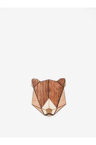 Brosa din lemn in forma de urs - BeWooden Bear Brooch